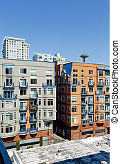 Residential buildings in Down of Seattle, WA