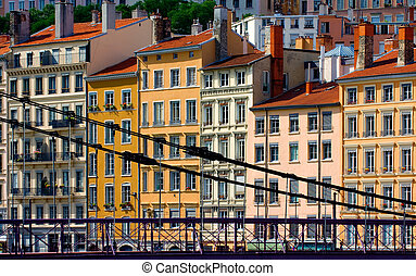 Residential buildings in Lyon, France - Image shows a series...
