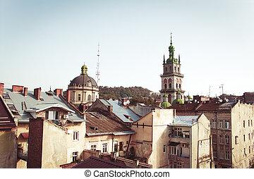 Residential buildings in the center of Lviv