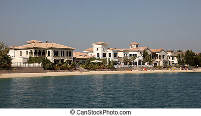 Residential buildings on Palm Jumeirah, Dubai, United Arab Emirates