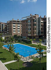 Residential buildings with closed swimming-pool