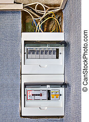 Residential circuit breaker box of home electricity.