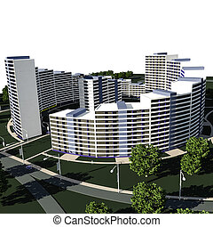 Residential complex 3D render