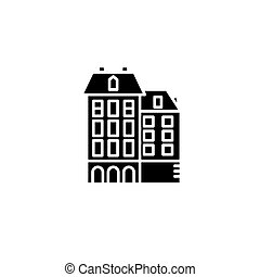 Residential complex black icon concept. Residential complex flat  vector symbol, sign, illustration.