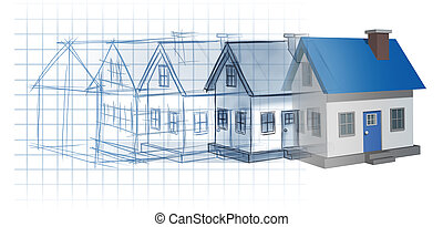 Residential development construction design and planning concept as a preliminary blueprint drawing sketch evolving to a finished built home as a housing industry symbol of architecture inspiration.
