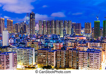 Residential district in city at night