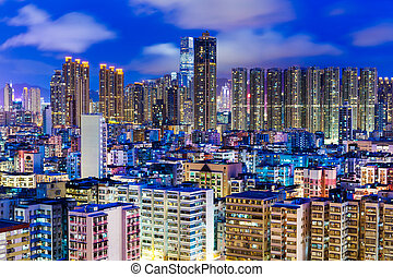 Residential district in Hong Kong at night