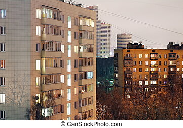 Residential district in Moscow at night