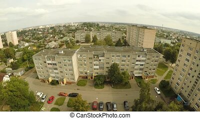 Residential district with the houses of Lida. Belarus....