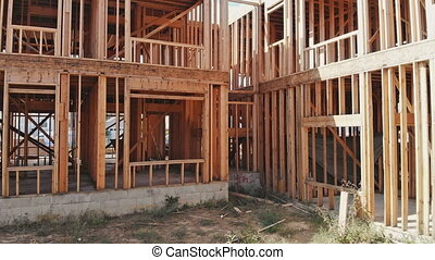 Residential Framed Home. view the beams of the new...