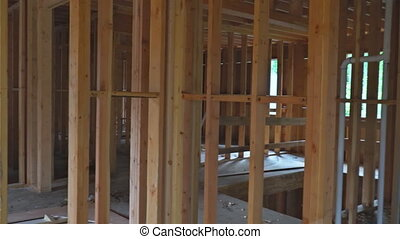 Residential Home Construction Site Framed Close Up a wide...