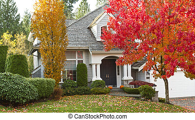 Residential Home during Fall Season - Shot of urban modern ...