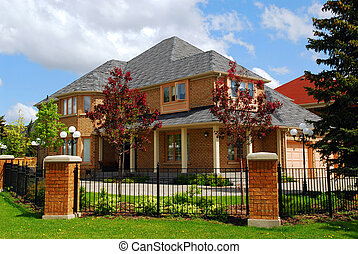 Residential home - Big luxury residential house with iron...