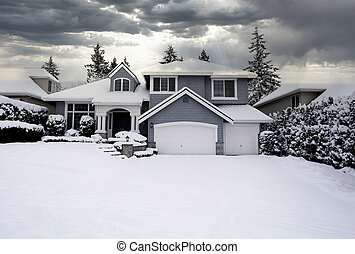 Residential home with snow