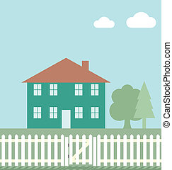Residential home with white picket fence and gate
