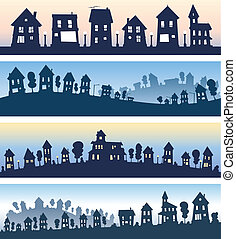 A set of cartoon house banner silhouettes.