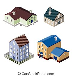 Residential house isometric buildings real estate decorative icons set isolated vector illustration