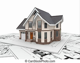 Residential house on architect blueprints. Housing project....