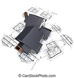 Residential house on top of architect blueprints 3