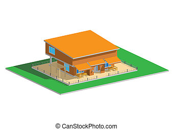 Residential house orange roof