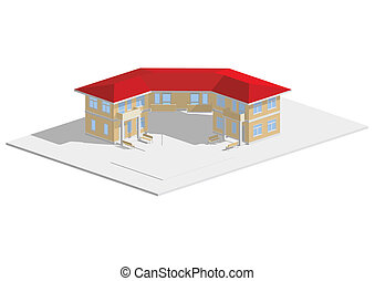 Residential house red roof