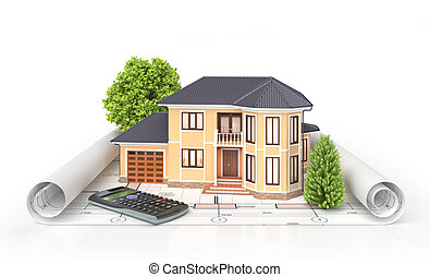 Residential house with tools on architect blueprints....