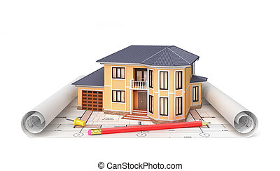 Residential house with tools on architect blueprints. Housing project. 3d illustration