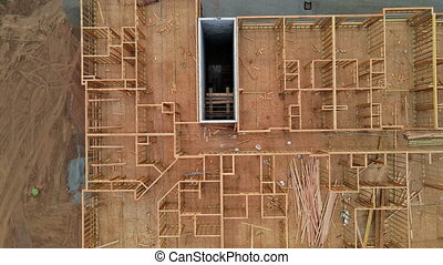 Residential american home in under construction beams house wooden frame house