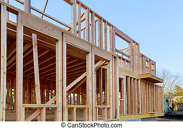 Residential house with under construction beams house wooden frame