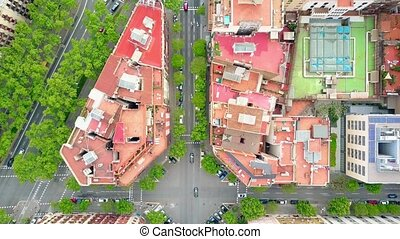 Residential houses and streets in Barcelona, Spain, aerial...