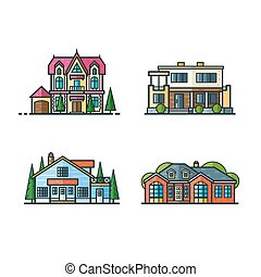 Residential houses icons