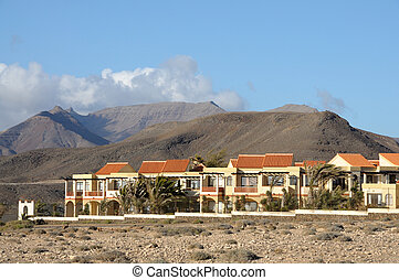 Residential houses in La Pared. Canary Island Fuerteventura, Spain