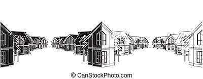 Residential Houses In The Settlement Vector