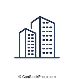 Residential houses thin line icon