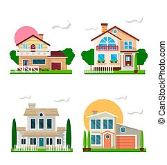 Residential houses with gardens colorful set on white