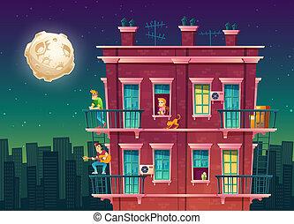 residential multi-storey apartment at night, neighborhood, ...