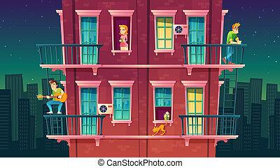 residential multi-storey apartment, neighborhood. Leisure of people