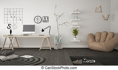 Residential multifunctional room with home office, workplace...