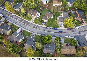 residential neighborhood aerial veiw