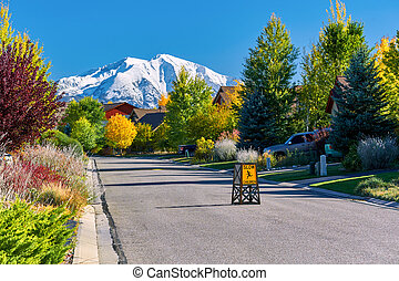 Residential neighborhood in Colorado at autumn
