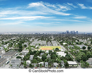 Residential neighborhood with commercial and cityscape background.