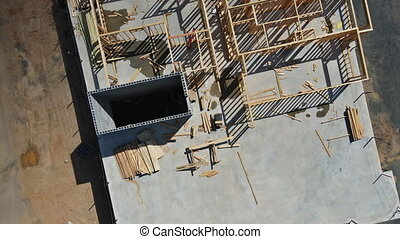 Residential american new apartments in under construction beams house wooden frame house