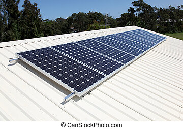 Residential roof top solar panel cells. Solar energy is...