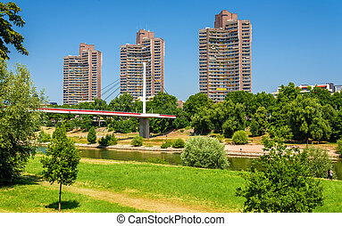 Residential skyscrapers and Neckar Footbridge in Mannheim,...