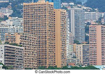 Stacked Skyscrapers Residential Buildings in Monaco Microstate