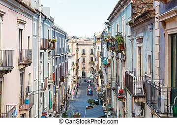 residential street in Catania city, Sicily - residential...