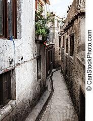 Residential street in Leh, India