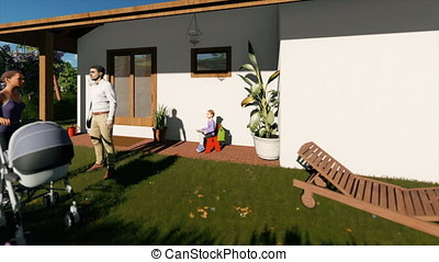 Residential villa complex with couple and kids playing,...