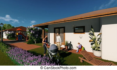 Residential villa complex with couple talking in the...