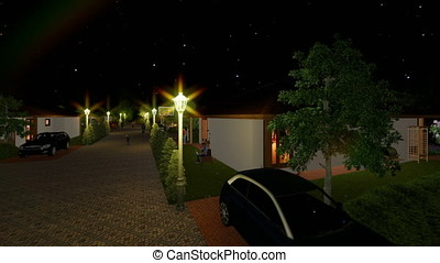 Residential villa complex with people relaxing, starry sky,...